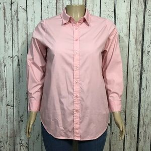 Woman Within Pale Pink Button Front Blouse Shirt